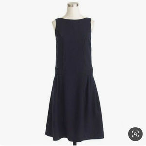 J. Crew Drapey Oxford Sleeveless Dress in Navy